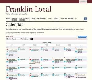 Franklin NY calendar