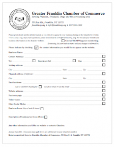 Franklin NY Chamber of Commerce membership form