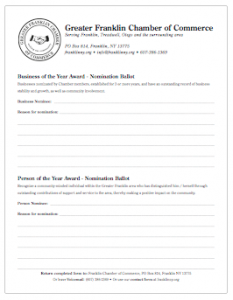 Franklin Chamber Business/Person of the Year Nomination Form